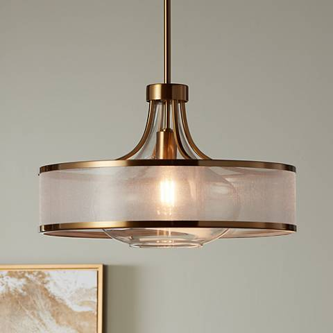 "Possini Euro Layne 19"" Wide Warm Antique Brass Pendant Light"