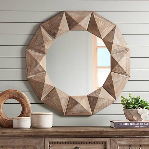 "Dyan Geometric Cut Distressed Wood 31 1/2"" Round Wall Mirror"