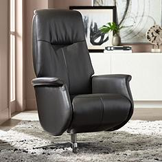 Augusta Charcoal Faux Leather Recliner Chair