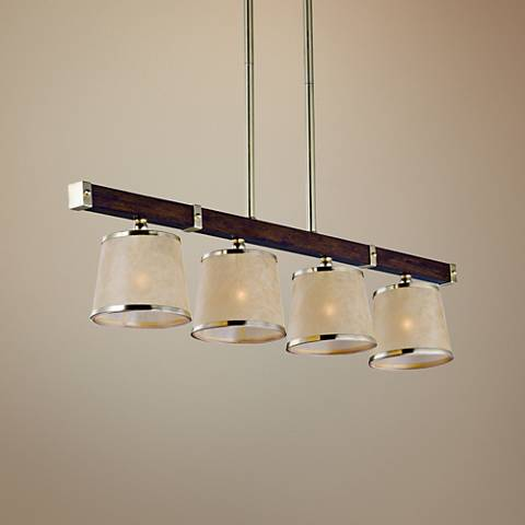 "Maxim Maritime 42""W Pecan and Brass 4-Light Island Pendant"