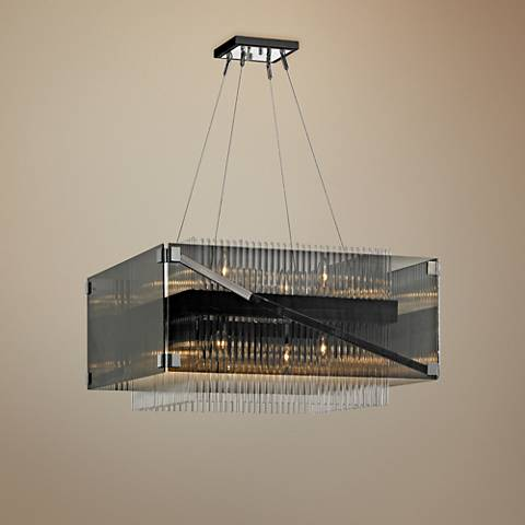 "Apollo 26 1/2""W Dark Bronze and Chrome 8-Light Chandelier"