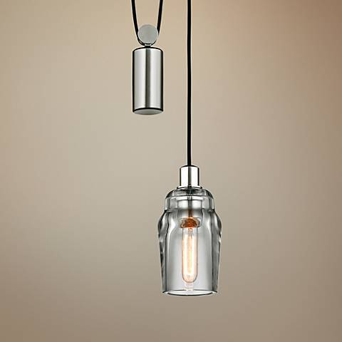 "Citizen 10"" Wide Graphite and Polished Nickel Mini Pendant"