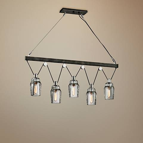 "Citizen 44 1/2""W Graphite and Nickel 5-Light Island Pendant"
