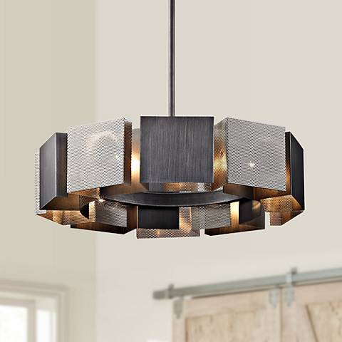 "Impression 27 1/2"" Wide Graphite and Nickel 10-Light Pendant"