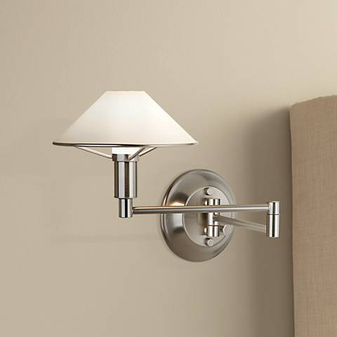 Holtkoetter Satin Nickel White Glass Swing Arm Wall Lamp