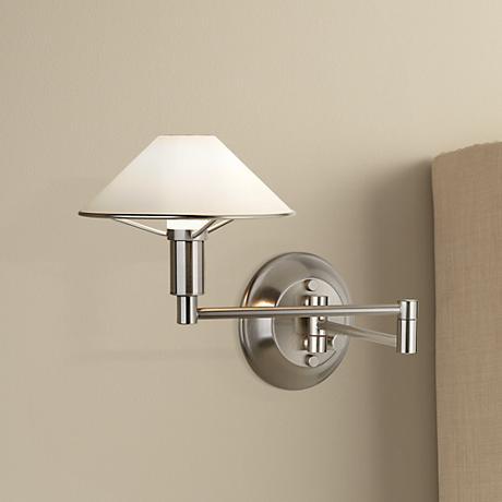 Holtkoetter Satin Nickel White Glass Swing Arm Wall Lamp