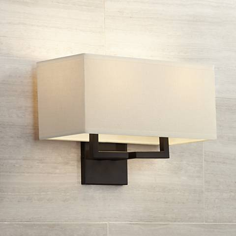 "George Kovacs Rectangle Bronze 11"" High 2- Light Wall Sconce"