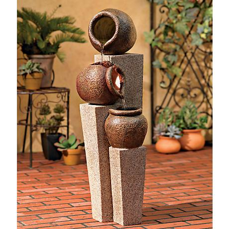 Three Urn and Pillar Cascade Outdoor/Indoor Fountain
