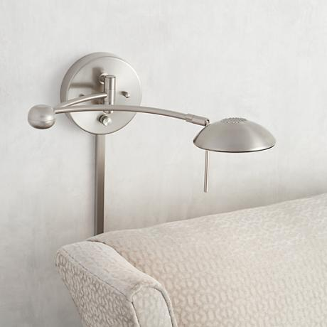 Brushed Steel Halogen Plug-In Swing Arm Wall Lamp
