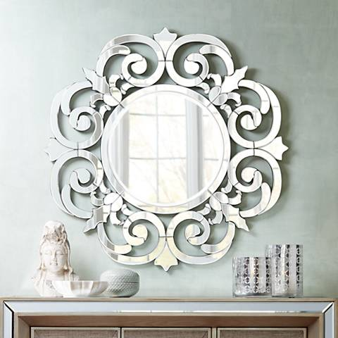 "Calla Mirrored Filigree Edge 36 1/4"" Round Wall Mirror"
