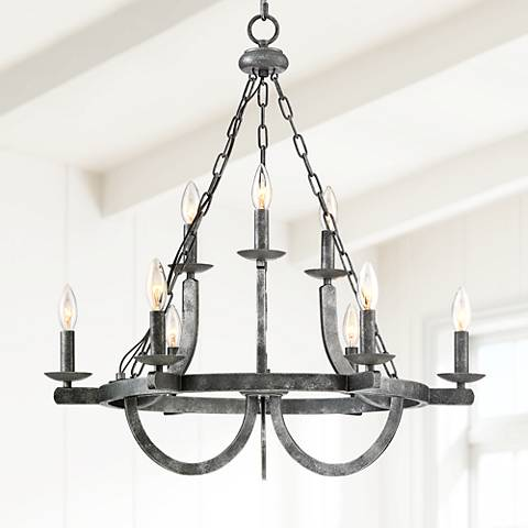 "Slope 27"" Wide 9-Light Black Texture 2-Tier Entry Chandelier"