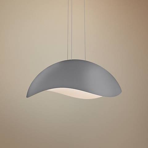 "Sonneman Waveforms 34 1/2"" Wide Dove Gray LED Pendant Light"