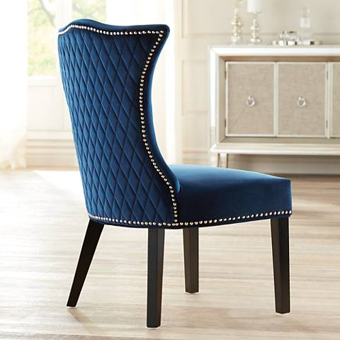 Linda Blue Quilted Back Armless Chair