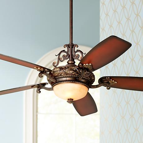 "56"" Casa Esperanza™ Teak Finish Blades Ceiling Fan"