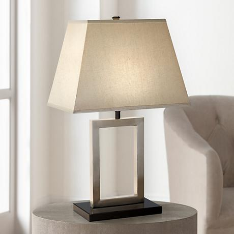 Brushed Steel Open Window Accent Table Lamp