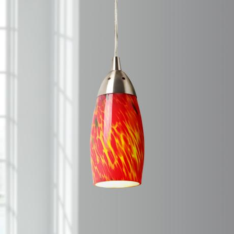 Milan Collection Fire Red Mini Pendant Chandelier