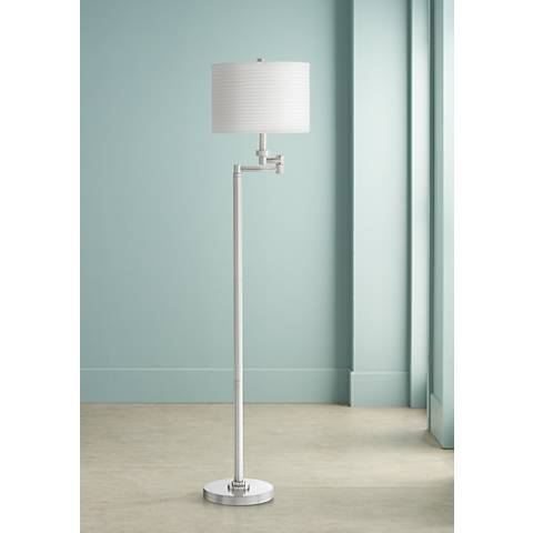 Pleated Drum Shade Swing Arm Floor Lamp