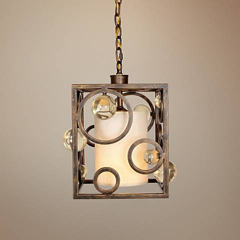"Free Wheeling 10"" Wide Golden Ochre Pendant Light"