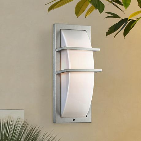 "Possini Euro Dualo Silver 13 3/4"" High Outdoor Wall Light"