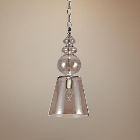 "Harper 10"" Wide Cognac Glass Pendant Light"