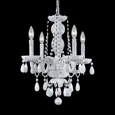 "Envogue 17"" White and Crystal Chandelier"