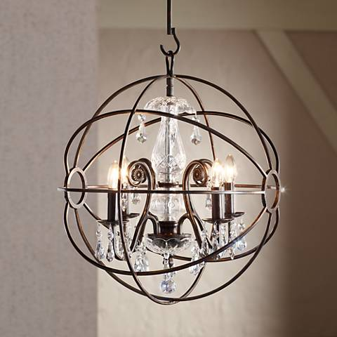"Crystorama Solaris 17""W English Bronze 4-Light Chandelier"