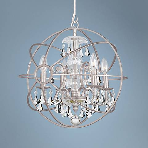 "Solaris 17"" Wide Olde Silver Chandelier"