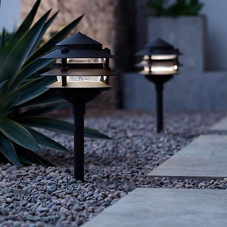 "Three-Tier Pagoda 11"" High Black LED Landscape Path Light"