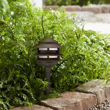 Three-Tier Pagoda Low Volt Bronze LED Landscape Path Light