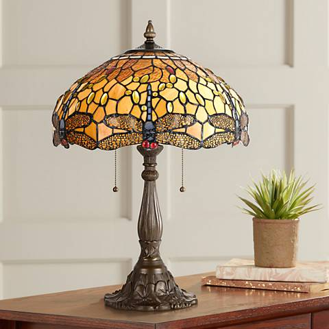 Amber Dragonfly Antique Brass Table Lamp