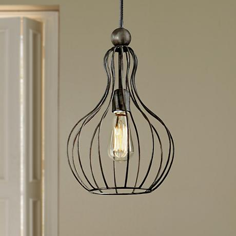 "Uttermost Bourret 10"" Wide Rust black Cage Mini Pendant"