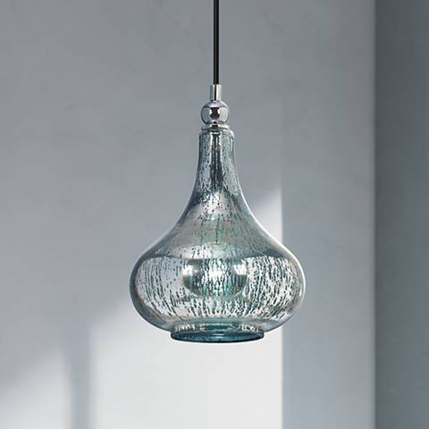 Norbello One Light Blue-Green Mercury Glass Mini Pendant
