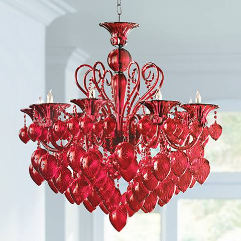 Bella Red Chianti Glass Chandelier