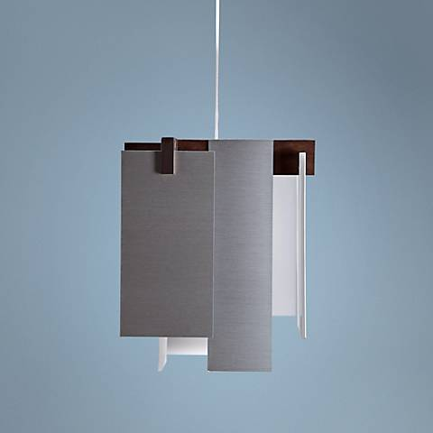 "Cerno Salix Brushed Aluminum 7 1/2"" Wide LED Mini Pendant"