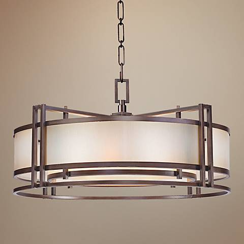 "Metropolitan Underscore 30"" Wide Bronze Pendant Light"