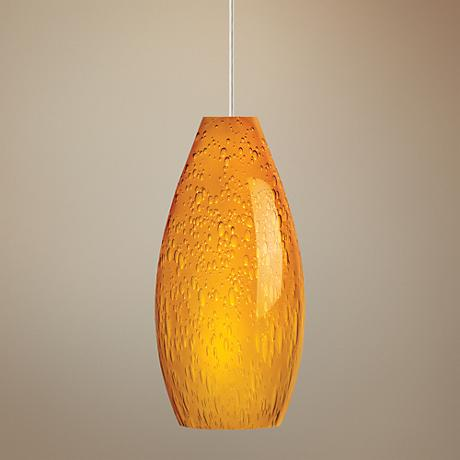 "Soda 3 3/4"" Wide Amber Glass Satin Nickel Mini Pendant"