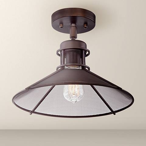 "Glasgow Industrial 14"" Wide Oil-Rubbed Bronze Ceiling Light"