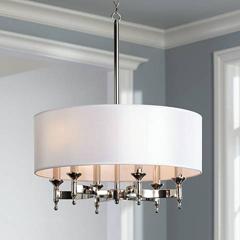"Pembroke 6-Light 24"" Wide Polished Nickel Chandelier"