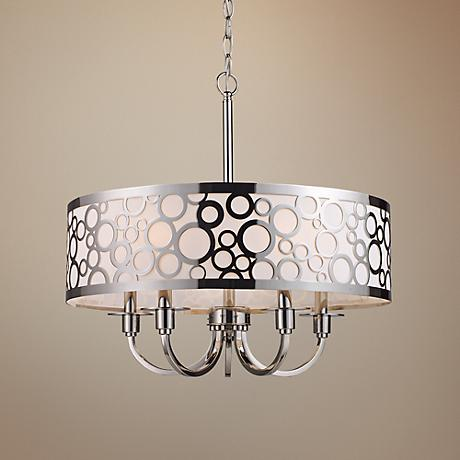 "Retrovia 5-Light 24"" Wide Polished Nickel Chandelier"