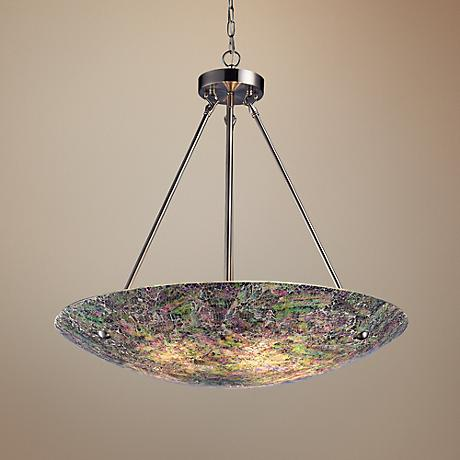 "Avalon Brown Glass 24"" Wide Satin Nickel Pendant Light"