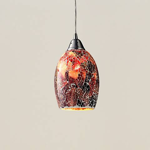 "Avalon Red Glass 5"" Wide Satin Nickel Mini Pendant"