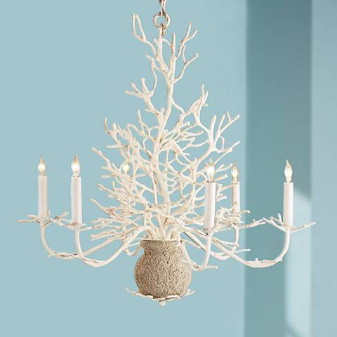 "Currey and Company Seaward 29"" Wide White Sand Chandelier"