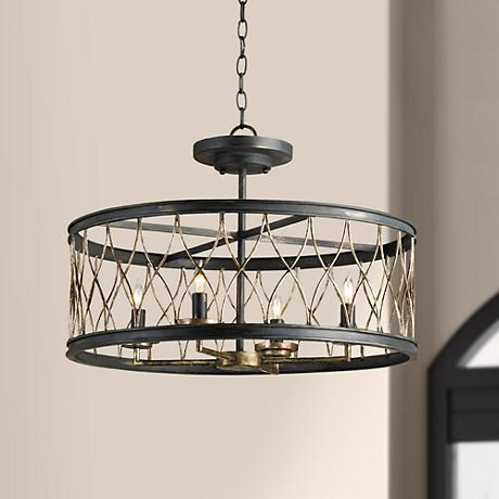 "Currey and Company Crisscross 22"" Wide Black Chandelier"