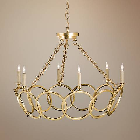 "Orli Contemporary Gold Leaf 32"" Wide Chandelier"