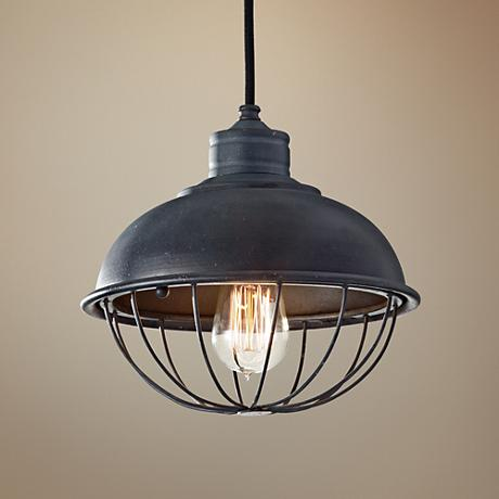 "Feiss Urban Renewal 10"" Wide Iron Cage Mini Pendant Light"