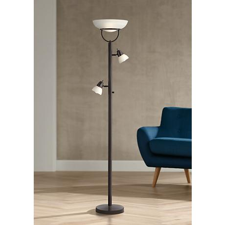 3-in-1™ Design Contemporary Torchiere Floor Lamp Bronze