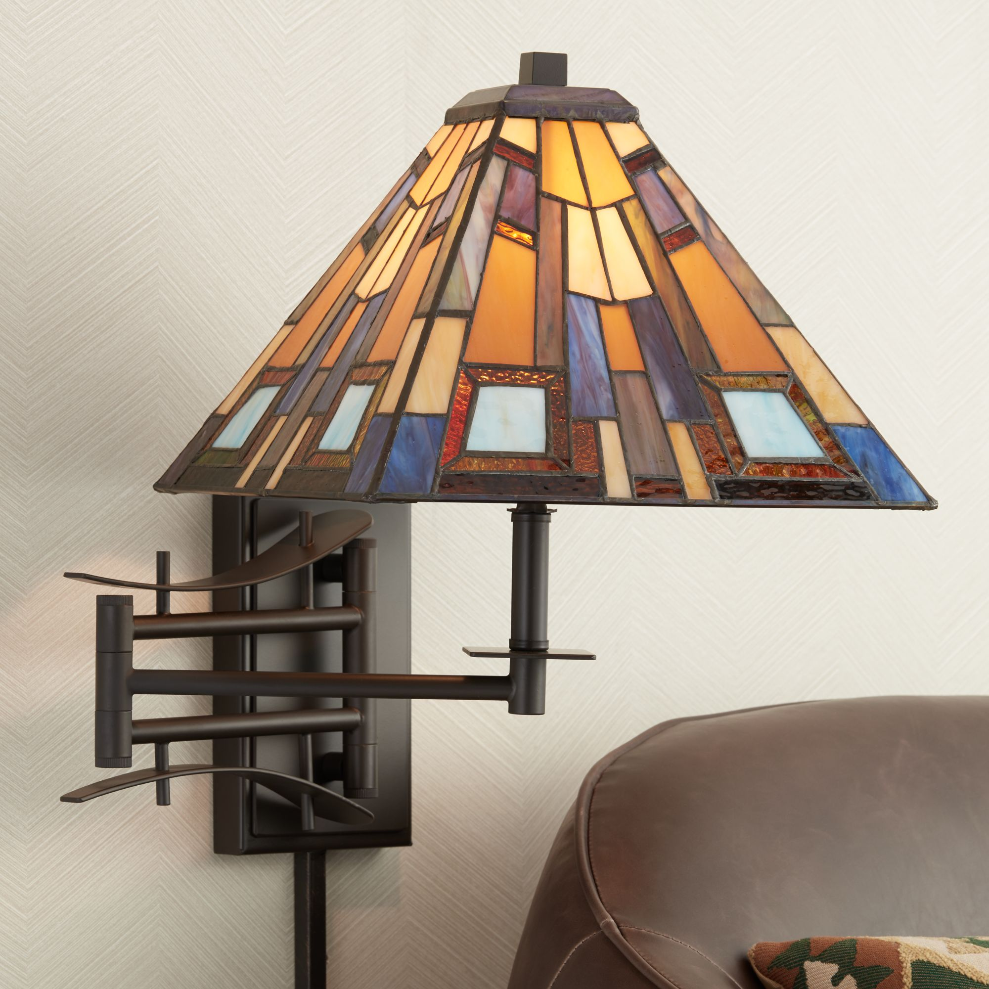 jewel tone tiffany style plugin swing arm wall lamp