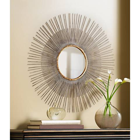 "Medium Pixley 24 1/2"" Round Antique Silver Wall Mirror"