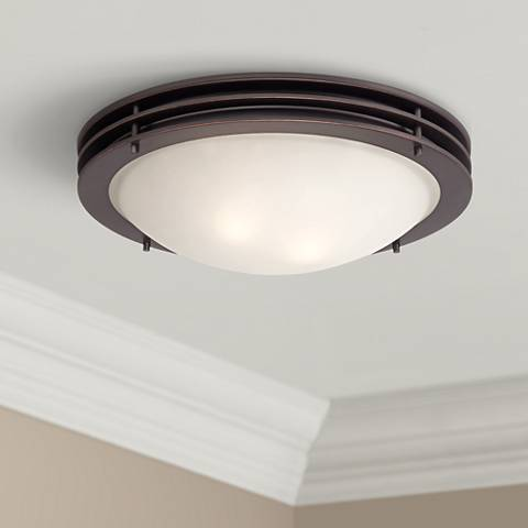 "Contemporary 16"" Wide Bronze Ceiling Light"