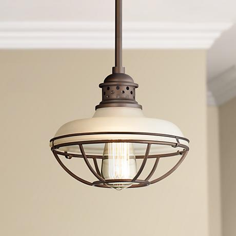 "Franklin Park Bronze 8 1/2"" Wide White Glass Pendant Light"